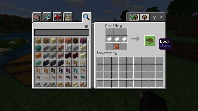 Crafting a book in Minecraft