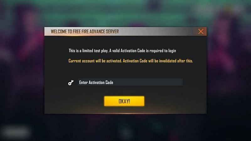 Activation Code in Free Fire