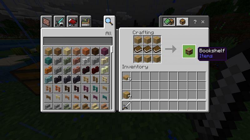 Crafting book shelf in Minecraft