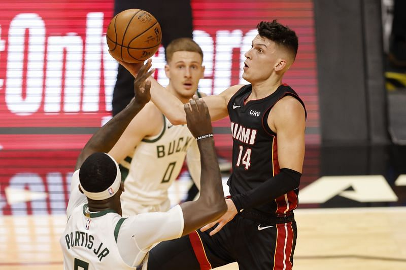 Tyler Herro of the Miami Heat goes up for a layup.