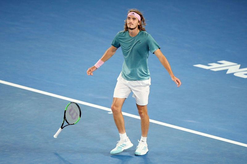 Stefanos Tsitsipas reacts after beating  Roger Federer at the 2019 Australian Open