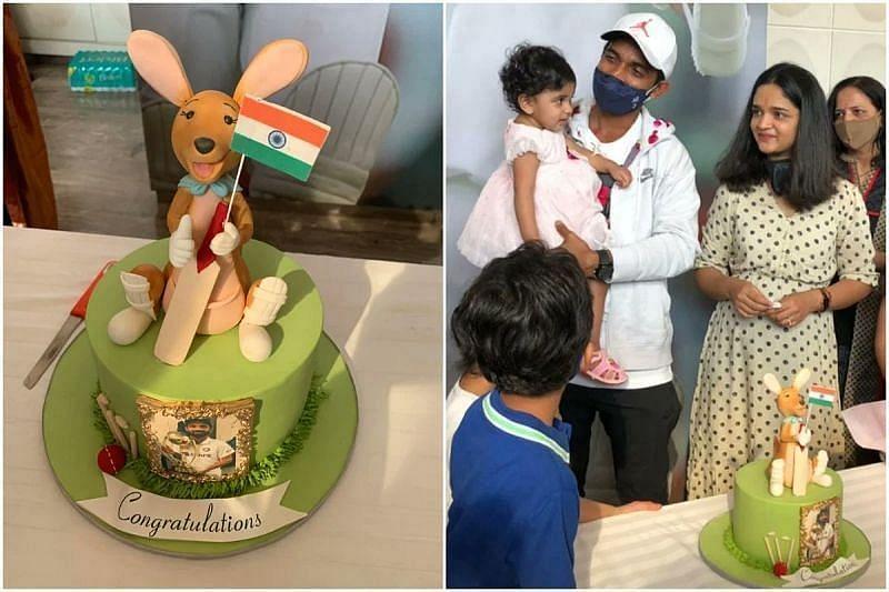 कंगारू केक और अपनी फैमिली के साथ अजिंक्य रहाणे