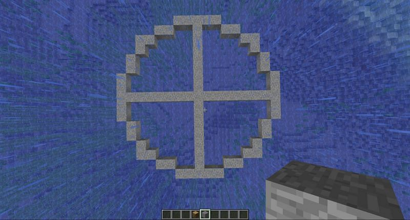 Step 5 to make a circle in Minecraft