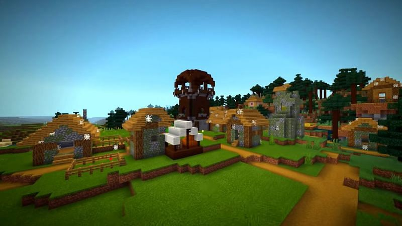 An abandoned village with a pillager outpost in Minecraft. (Image via Minecraft & Chill/YouTube)