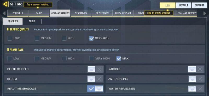 COD Mobile graphics options