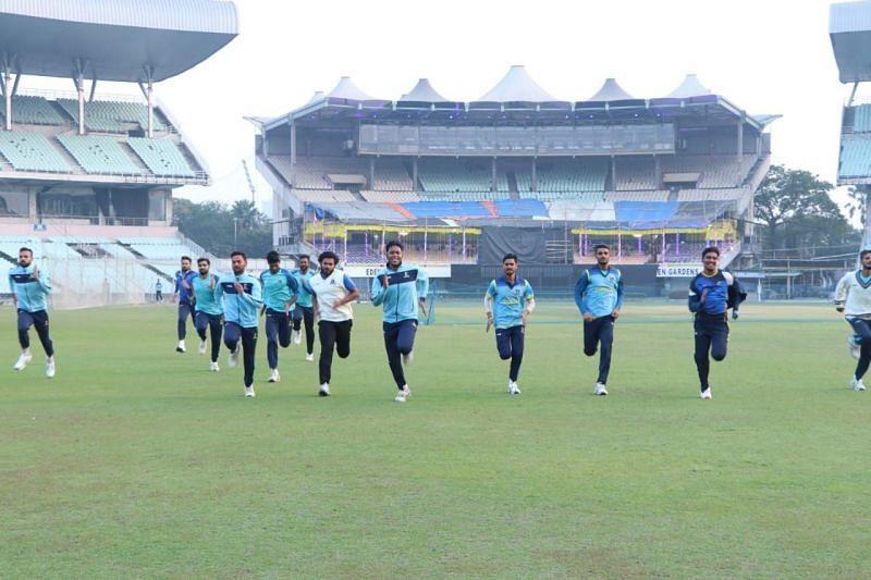Bengal team practising at the Eden Gardens (Image Credits: CAB)