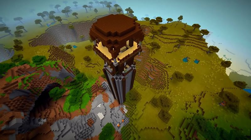 A pillager outpost that generated far taller than normal in Minecraft. (Image via Minecraft & Chill/YouTube)