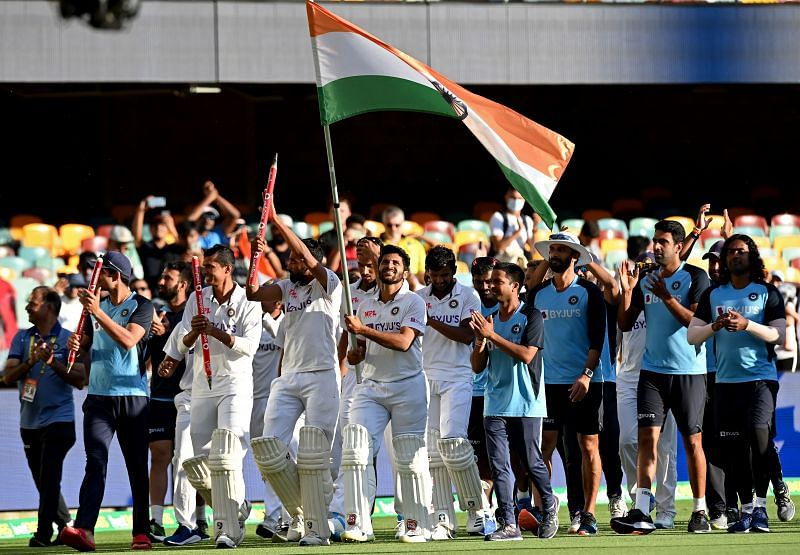 Team India celebrate after their historic win at the Gabba