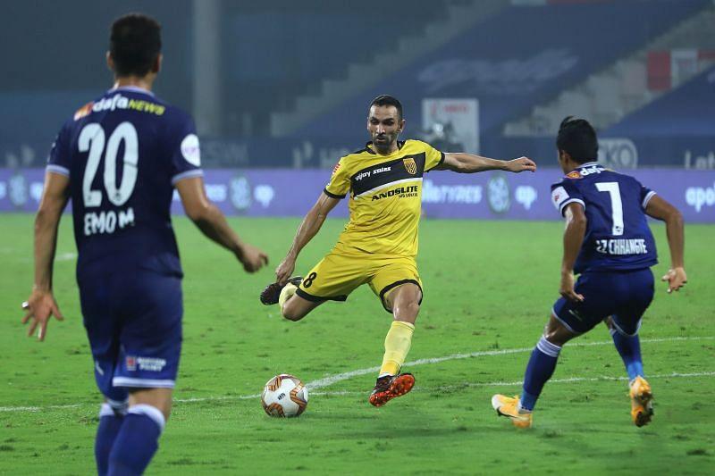 Joao Victor scored the third goal for Hyderabad FC against Chennaiyin FC (Image Courtesy: ISL Media)
