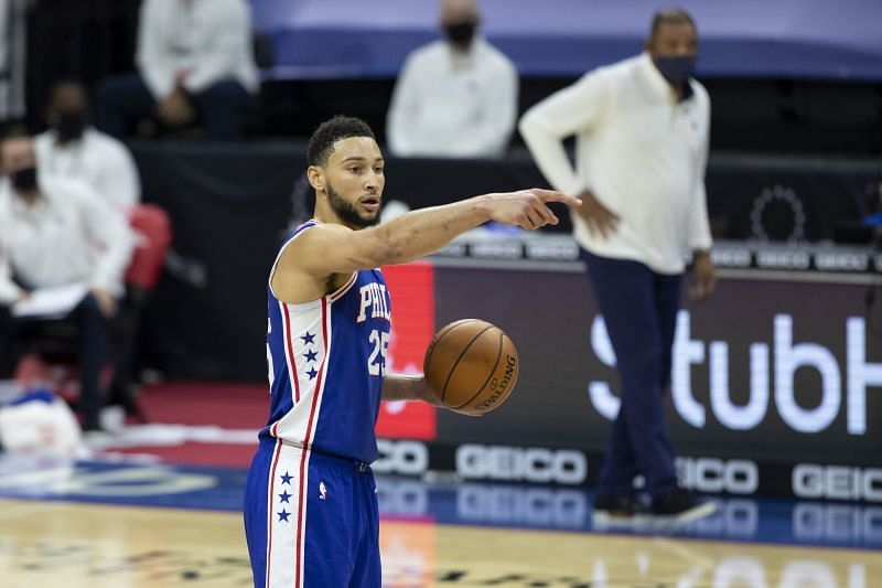 Ben Simmons of the Philadelphia 76ers points against the Miami Heat at the Wells Fargo Center