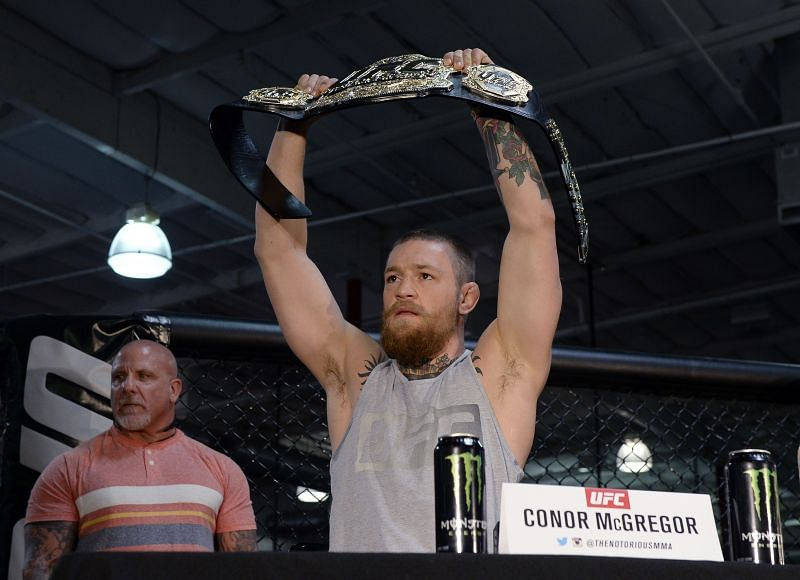 Conor McGregor holding his UFC lightweight bout