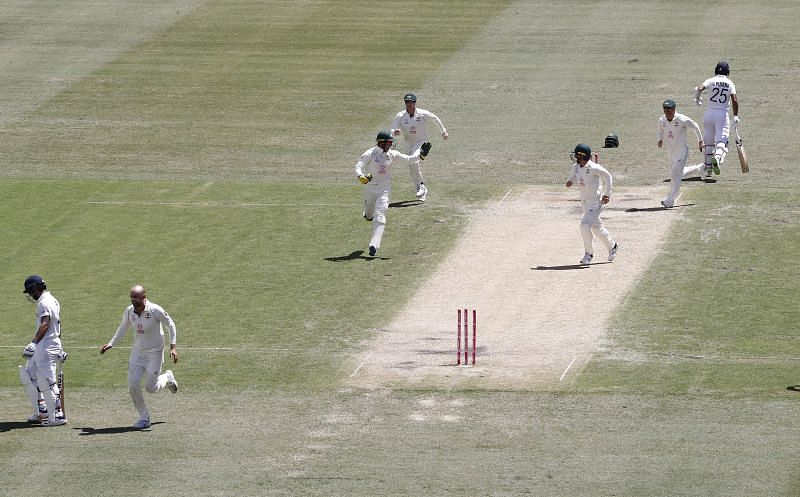 Vihari was run out in the 1st innings by Hazlewood