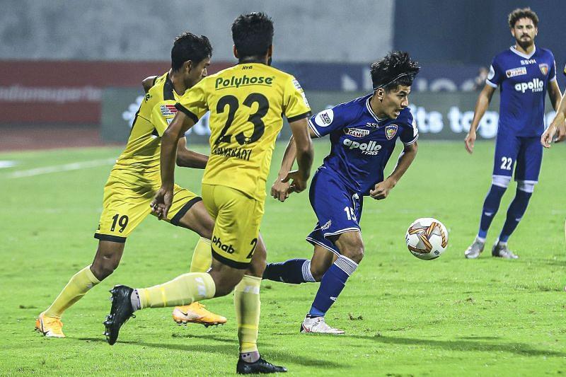 Anirudh Thapa was the lone shining prospect for Chennaiyin FC against Hyderabad FC (Image Courtesy: ISL Media)