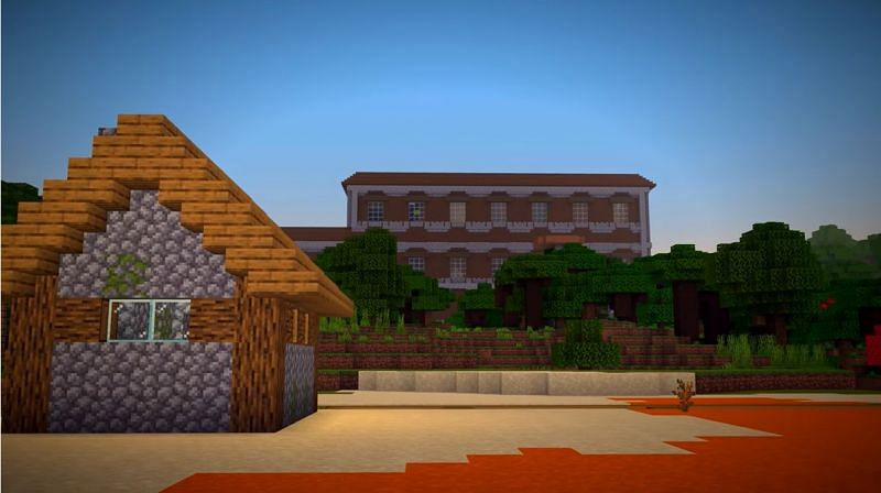 A woodland mansion that is close to a multitude of different biomes in Minecraft. (Image via Minecraft & Chill/YouTube)