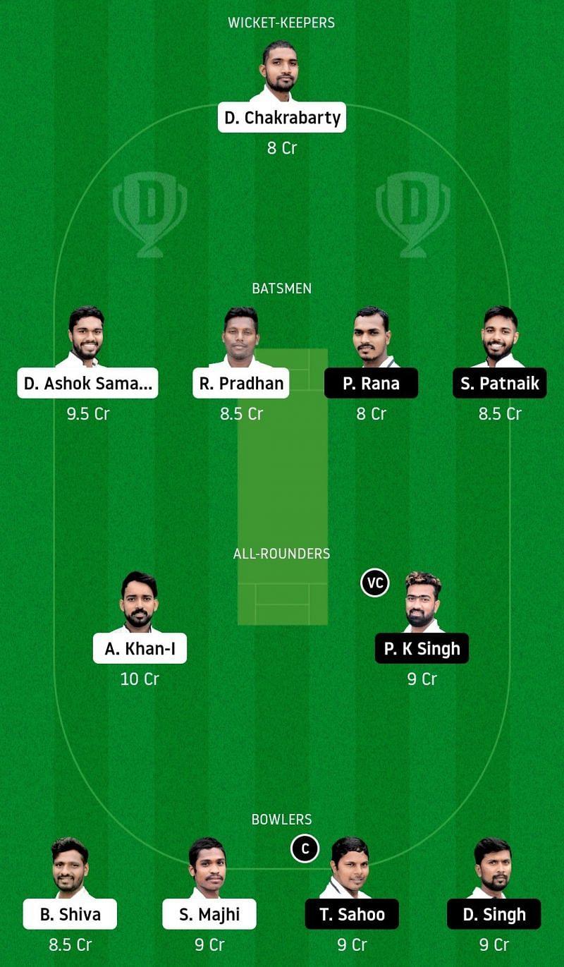 Dream11 Team for Odisha Tigers vs Odisha Pumas - Odisha Cricket League.