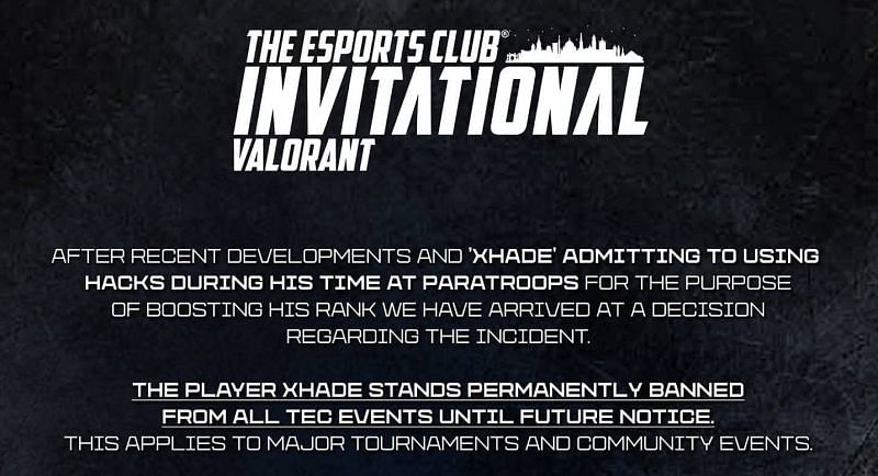 Official statement of Esports Club (Image via The Esports Club)