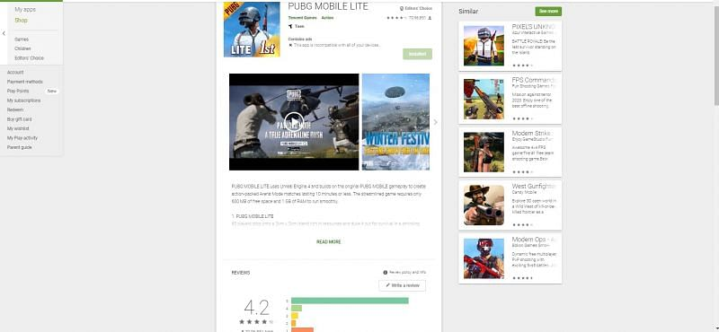 Rating of PUBG Mobile Lite on the Google Play Store
