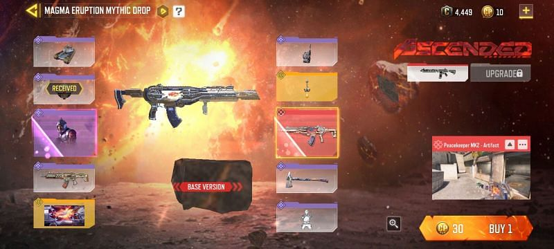 Magma Eruption Mythic Drop in Call Of Duty Mobile (Image via Activision)