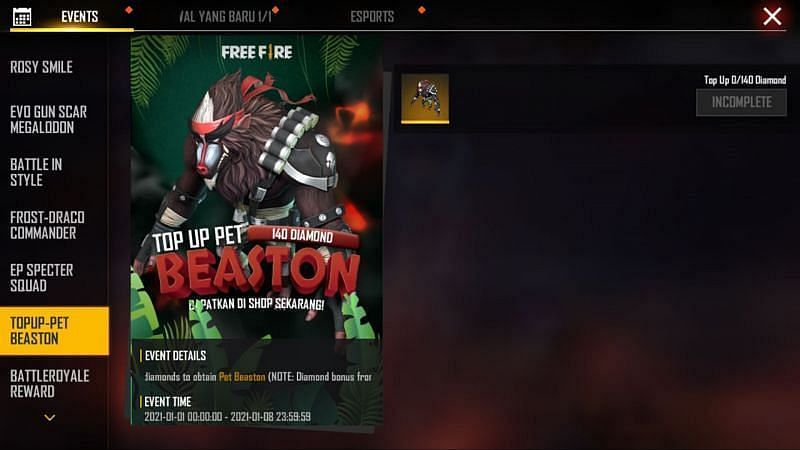 The Beaston top-up event in Free Fire