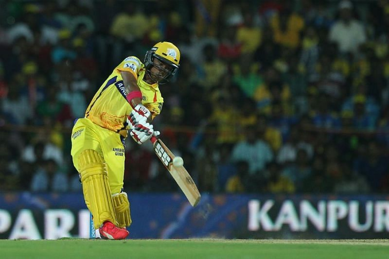 Pawan Negi smacking a maximum during his time with the Super Kings