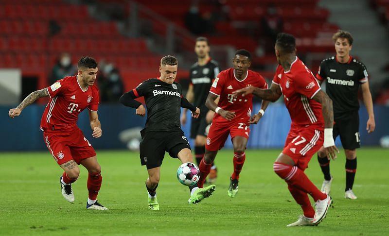 Florian Wirtz in action against Bayern Munich