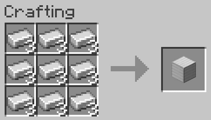 Fill the crafting table completely with iron ingots three times to make 3 iron blocks