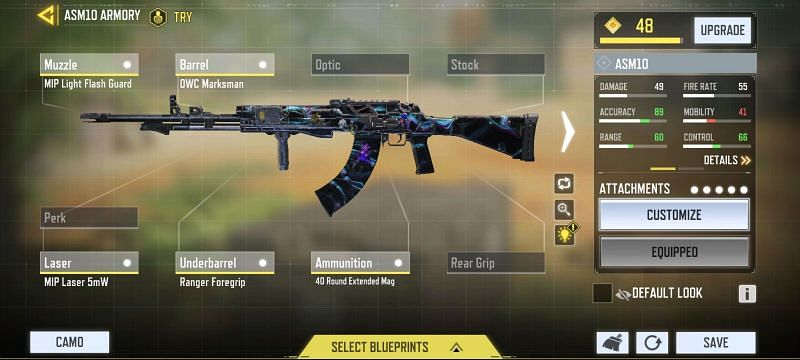 Large magazine ASM10 loadout in COD Mobile (Image via Call of Duty Mobile)