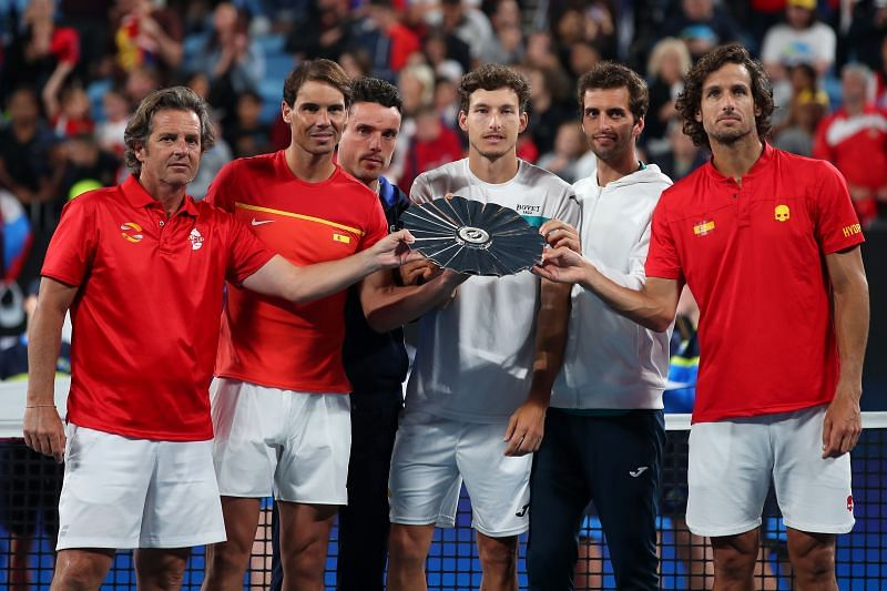 Rafael Nadal and Team Spain with the runners up trophy at the ATP Cup in January 2020