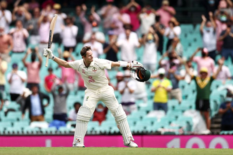 Steve Smith celebrated a fine 100 at the SCG.