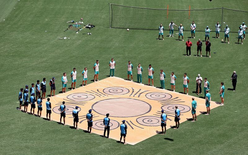 The Australia and India teams formed a Barefoot circle in support of anti-racism before the first ODI