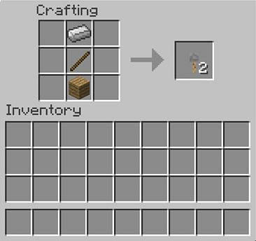 placing a stick in the middle in crafting menu