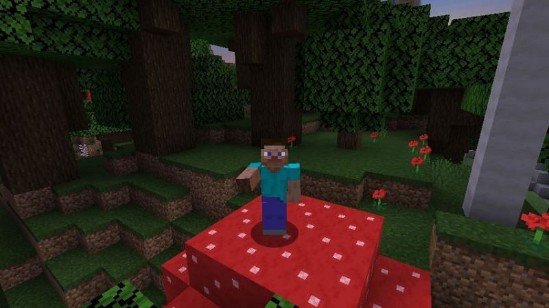 Steve on a mushroom surrounded by trees in Minecraft. (Image via Minecraft) The crafting recipe for a crafting table in Minecraft. (Image via Minecraft)