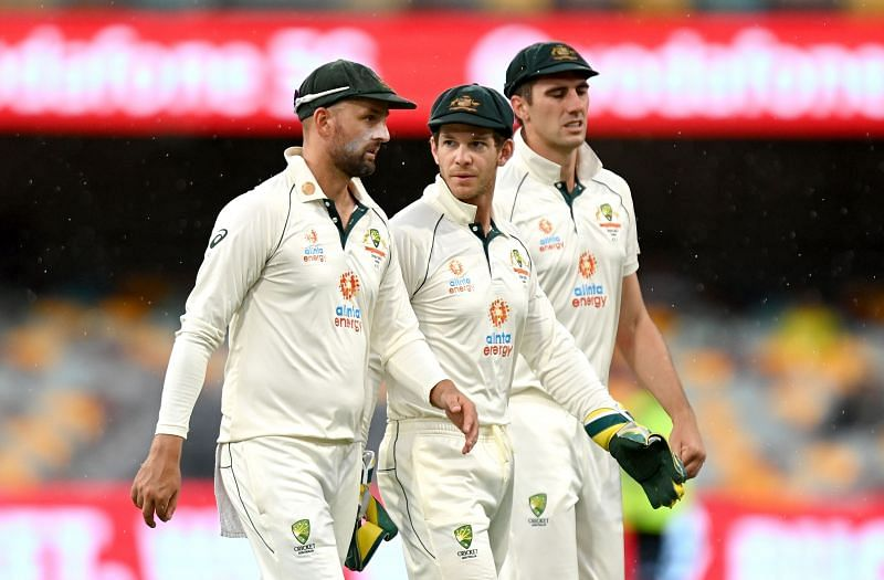 Nathan Lyon, Tim Paine and Pat Cummins at stumps on Day 4.