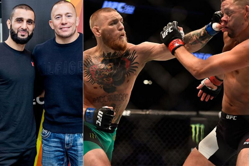 L - R: Firas Zahabi, Georges St. Pierre, Conor McGregor and Nate Diaz