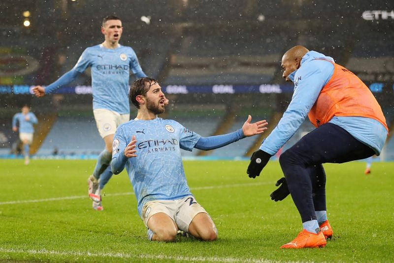 A 2-0 win over Aston Villa sent Manchester City to the top of the Premier League table.