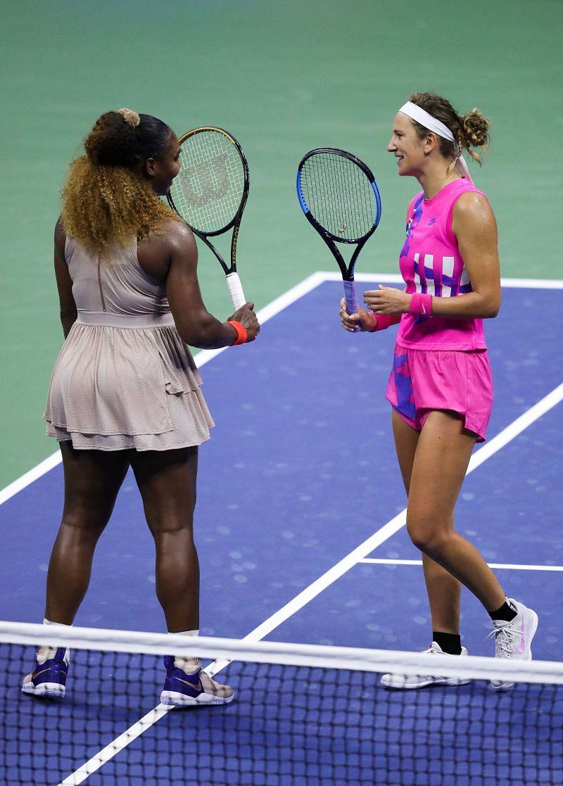 Serena Williams and Victoria Azarenka at the 2020 US Open