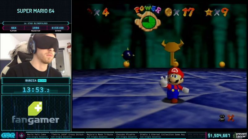 (Image Credit: Games Done Quick) Bubzia Blindfolded for Super Mario 64