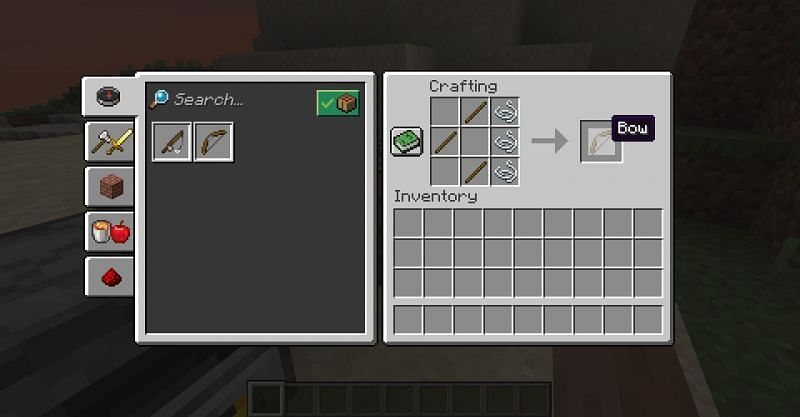 The crafting recipe for a bow in Minecraft. (Image via Minecraft)