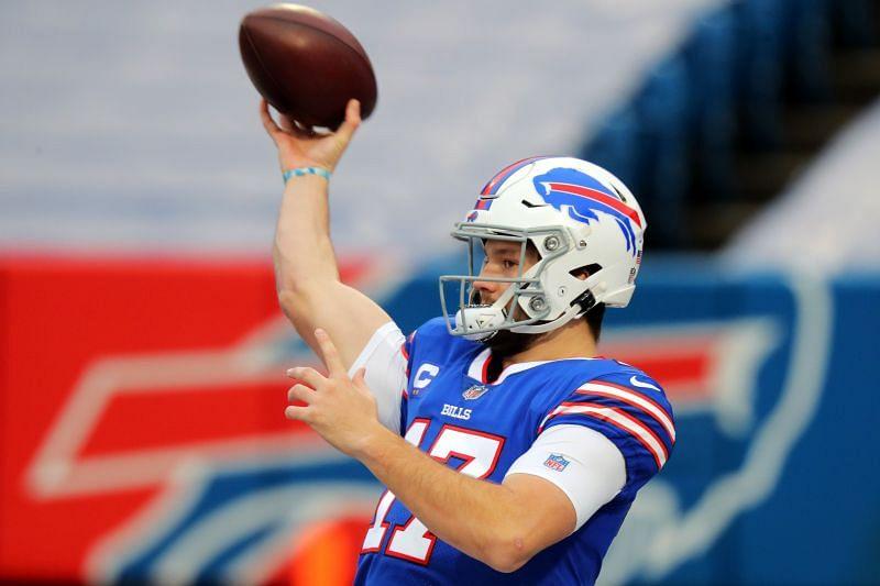 Josh Allen winding up to throw