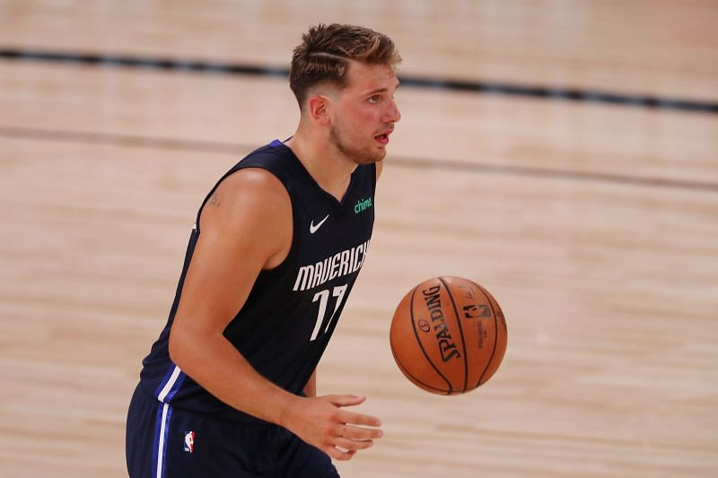 Luka Doncic of the Dallas Mavericks dribbles during the second half against the Houston Rockets