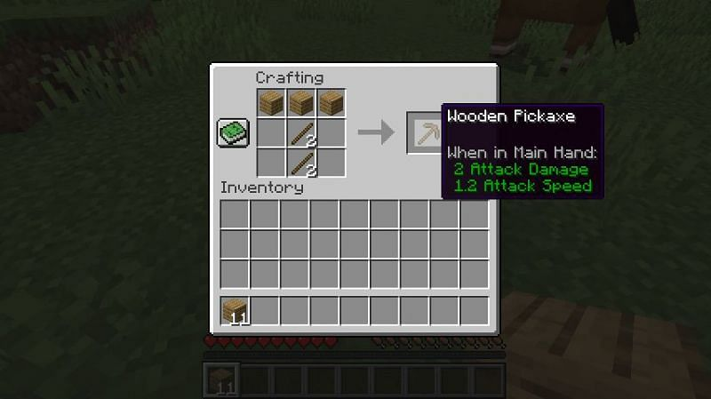 The crafting recipe for a wooden pickaxe in Minecraft (Image via Minecraft)