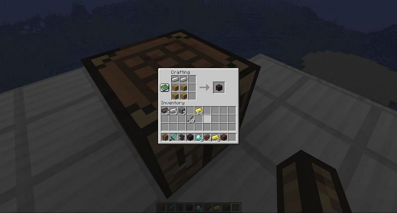 Recipe to craft a smithing table in minecraft