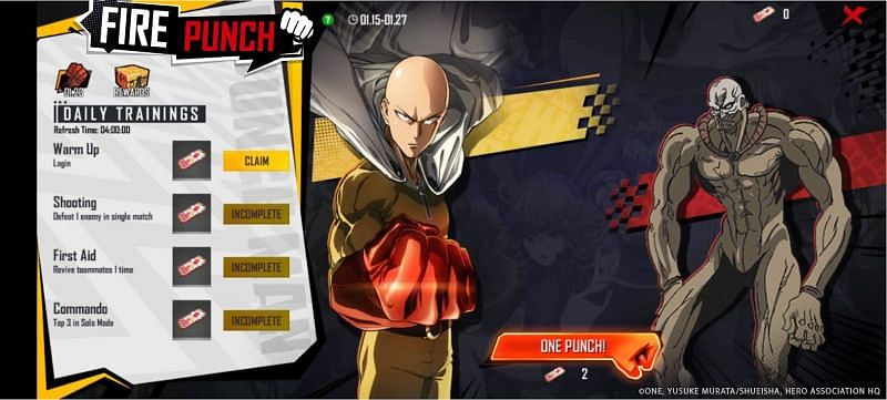 The Free Fire interface will reflect One Punch Man elements on January 15(Image via Garena)