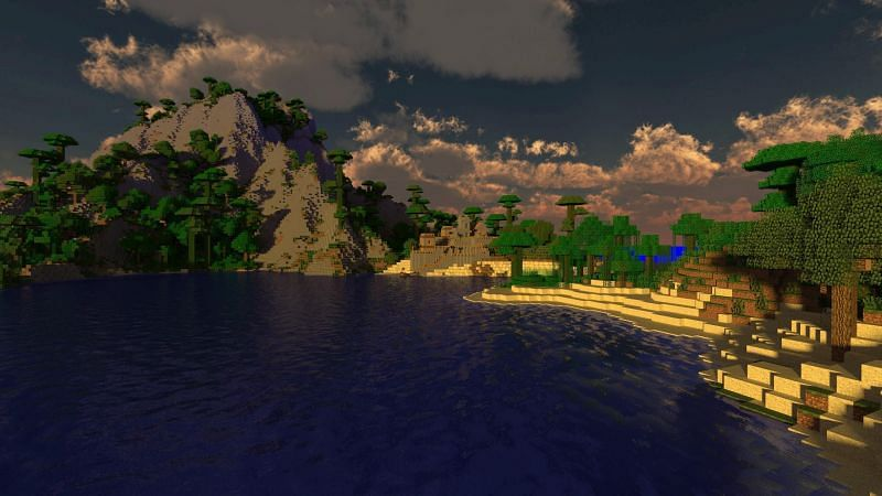 A picturesque seaside landscape in Minecraft. (Image via wallpapercave.com)