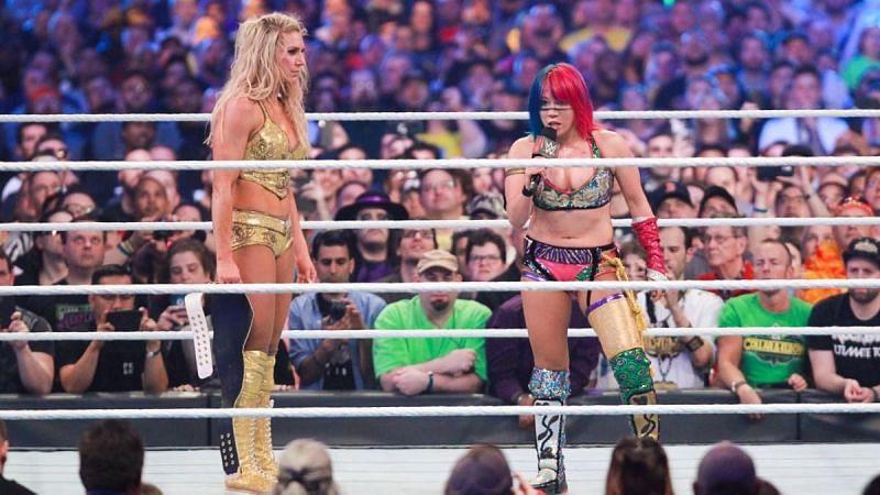 Charlotte Flair and Asuka at WrestleMania 34