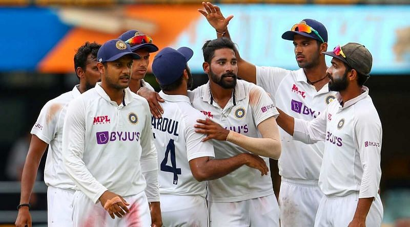 Mohammed Siraj celebrates with Team India after his maiden five-wicket haul.