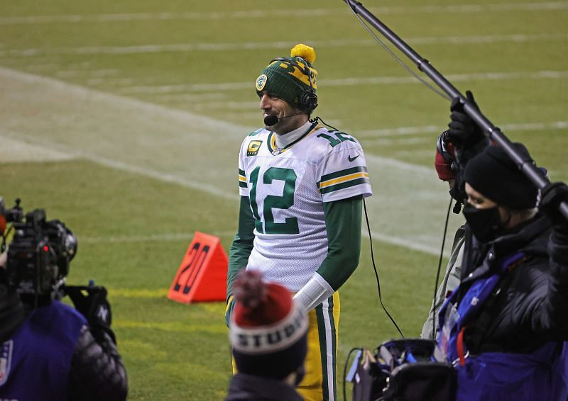 Aaron Rodgers during a post-game interview