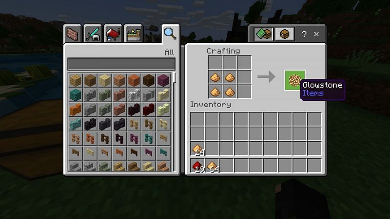 Crafting Glowstone in Minecraft