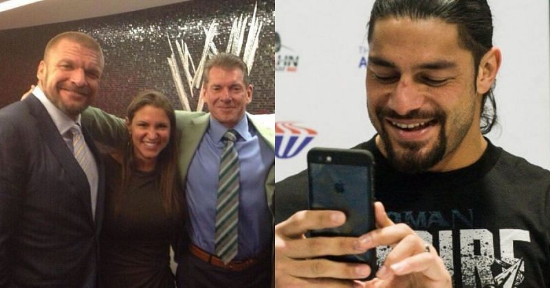 Triple H, Stephanie McMahon, Vince McMahon, and Roman Reigns.