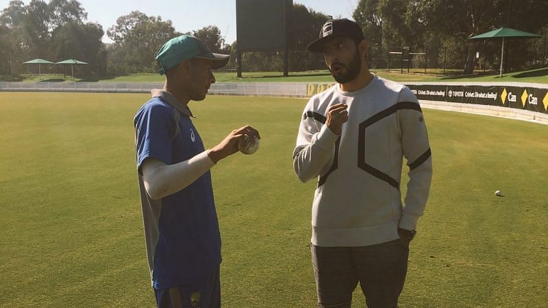 Tanveer Sangha (L) with Fawad Ahmed (R), who has played three ODIs and two T20Is for Australia